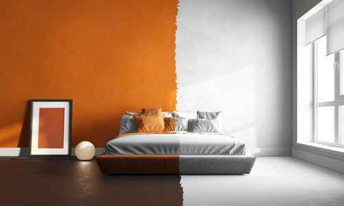 orange and white interior of bedroom