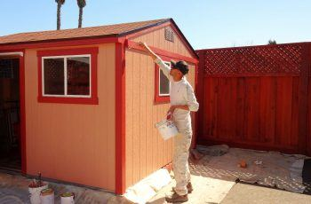 Painting backyard shed