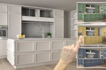 All white kitchen with a hand choosing different bright color options