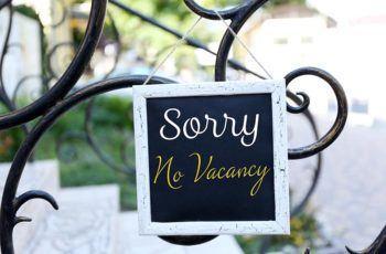Sorry No Vacancy Sign hanging outside a sonoma county airbnb